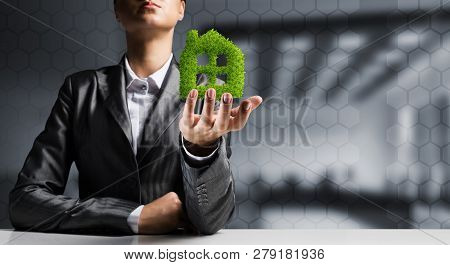 Businessman In Suit Presenting Green Plant In Form Of House Symbol With Office View On Background.