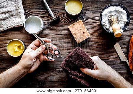 Babrer Workplace With Tools On Wooden Background Top View