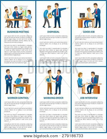 Business Company Boss And Employees, Office Work. Meeting And Dismissal, Worker Control And Working