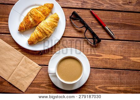Business Breakfast With Coffee And Croussant Top View