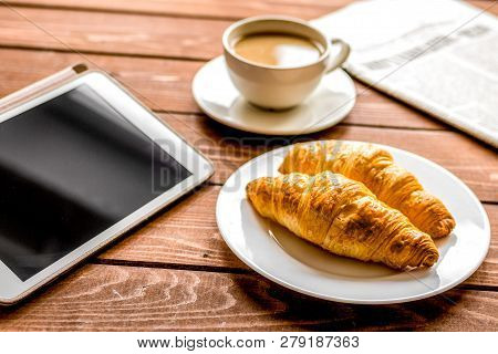 Businessman Lunch At Home With Coffee, Croisant And Device