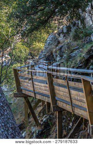 View Of Wooden Suspended Pedestrian Walkway, Overlooking The Paiva River, In Arouca, Portugal