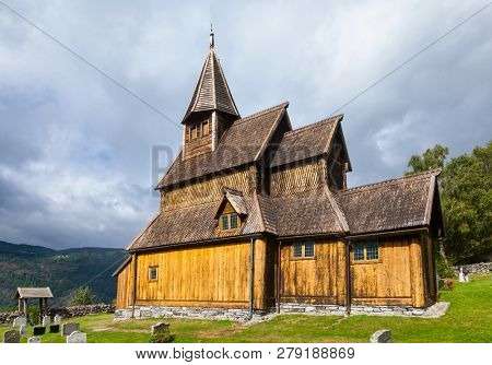 12th century wooden Urnes Stave Church (Urnes stavkyrkje), listed as UNESCO World Heritage Site and one of the oldest remaining stave churches in Norway. Ornes, Luster, Sogn og Fjordane county, Norway