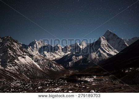 Ama Dablam Mountain Panoramic View On A Starry Night. Bizarre Photo.