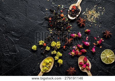 Herbs And Spoons Black Background Mockup Top View
