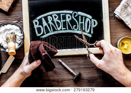 Tools For Cutting Beard In Barbershop On Workplace Background To