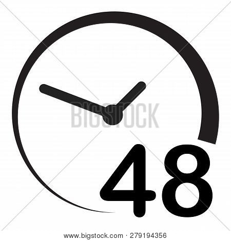 48 Hours On White Background. Flat Style. 48 Hours Sign. Simple Pictogram For Your Web Site Design,