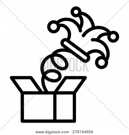 Spring Box Jester Hat Icon. Outline Spring Box Jester Hat Vector Icon For Web Design Isolated On Whi