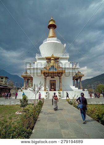 Tashicho Dzong, Thimpu / Bhutan - May 17, 2013 : National Memorial Chorten, Thimpu, Bhutan