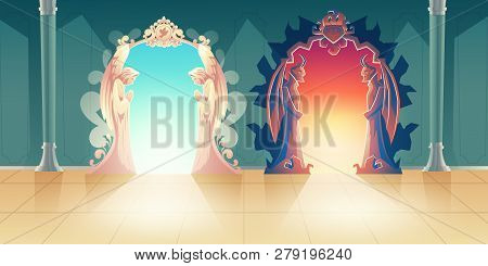 Heaven And Hell Gates Cartoon Vector With Humbly Praying Angels And Scary Horned Demons Meeting Gues