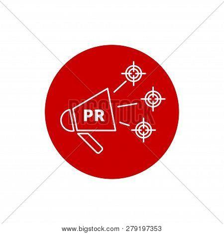 Public Relations, Pr Logo. Vector Megaphone. Target Audience. Logo Communications Icon Pr