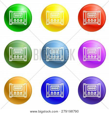 Electric Microcontroller Icons Vector 9 Color Set Isolated On White Background For Any Web Design