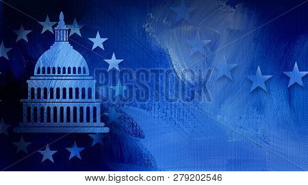 Graphic Illustration Of Iconic American Capitol Dome And Simple Ring Of Stars On Abstract Oil Paint