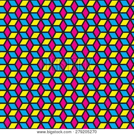 Cmyk Color Cubic Seamless Pattern, Cmy Banner With Cubes, Geometric Print, Modern Abstract 3d Backgr