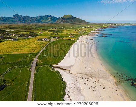 Coast Of Gimsoya Island, Gimsoysand Sandy Beach In Summer. Nordland County, Lofoten Archipelago Norw