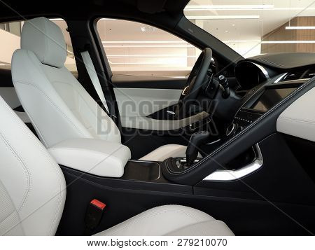 Combination of colored leather upholstery of front seats in premium car interior poster