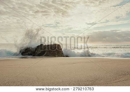 French Landscape - Evening Light. Breton Beach In Quiberon In The Evening With Heavy Waves.