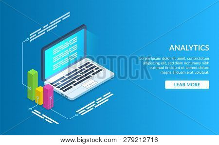 Analyze Data Using A Computer Or Laptop. Graph Data Description. Modern Vector Illustration Isometri