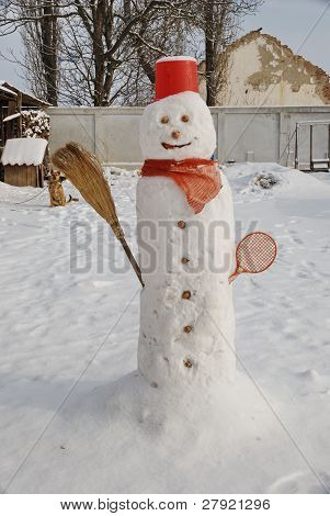 winter day and snowman in the garden