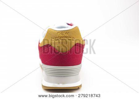 Boston, Ma, Usa, January 2019 - Back Of New Balance Nb 574 Athletic Shoes On Studio Background. New