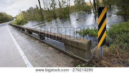 Rising Flood Water After Hurricane Florence Near Fayetteville North Carolina