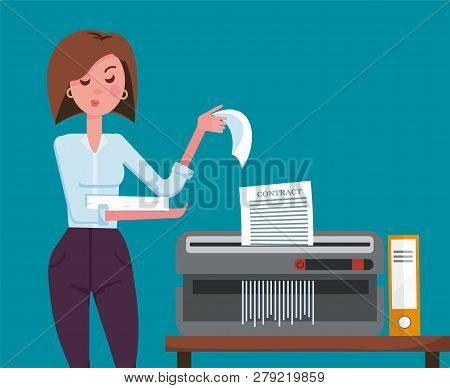 Girl Office Worker With Displeased Facial Expression Shredding Documents. Office Device For Destruct