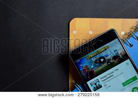 Bekasi, West Java, Indonesia. January 18, 2019 : Pocket Troops: The Expendables Dev App On Smartphon