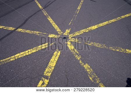 Yellow Star Shaped Road Marking For Backgrounds