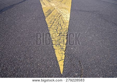 Close Up Of Road Markings On An Air Strip