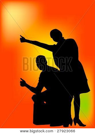 Vector silhouette of a couple hitching a ride orange background