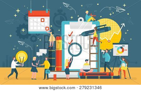 Questionnaire Survey For People To Give Answer Vector. Workers With Magnifying Glass, Pen And Bulb,