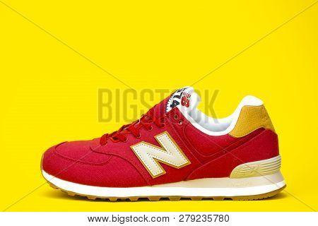 Boston, Ma, Usa, January 2019 - New Balance Nb 574 Athletic Shoes On Studio Background. New Balance