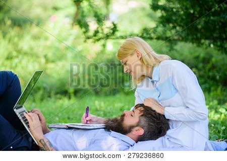 Business Partner Concept. Couple In Love Or Family Work Online Business. Balance Freelance And Famil