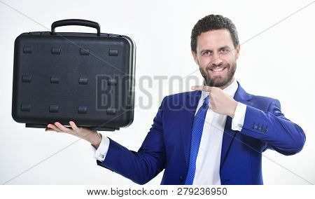 Businessman Demonstrate Briefcase. Business Conference. Business Attributes. Justification For Propo