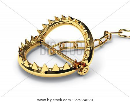 Metal Trap Isolated N White Background. 3D Image