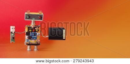 Media Information Storage Electronic Equipment Concept. Robot With Usb And Memory Card. Creative Des