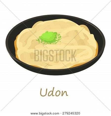 Udon icon. Cartoon illustration of udon icon for web isolated on white background poster
