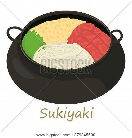 Sukiyaki icon. Cartoon illustration of sukiyaki icon for web isolated on white background poster