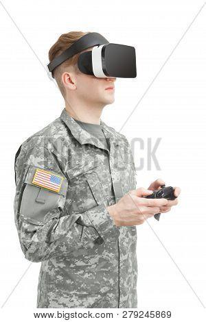 Indoors Shot Of American Soldier Wearing Vr Glasses