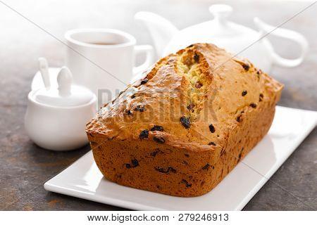 Fruit Cake With Raisin, Fruitcake Closeup On Light Background
