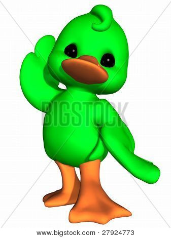 3d render of a cute duck - toon figure poster