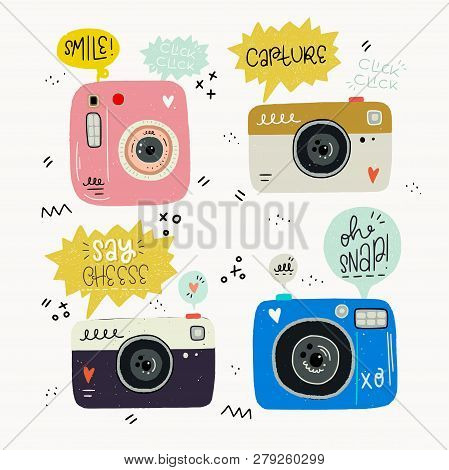 Hipster Style Vector Illustration Of Hand Drawn Photo Cameras And Photography Words. Cute 80s 90s No