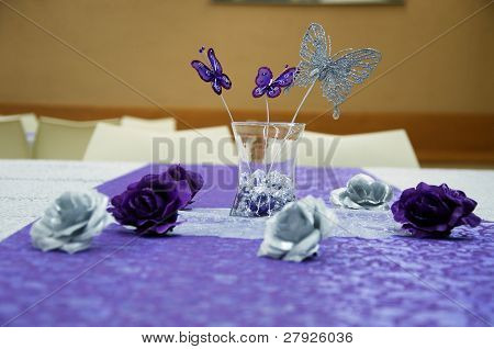 Violet butterflies and roses