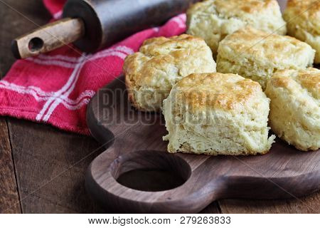 Freshly Baked Buttermilk Southern Biscuits Or Scones From Scratch Over Cutting Board.