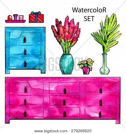 Home set furniture dresser wooden bouquet palm watercolor pink poster