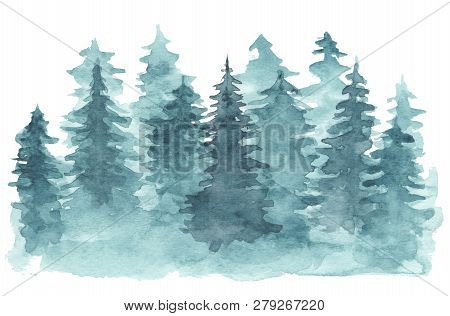 Beautiful Watercolor Background With Mystery Blue Coniferous Forest. Mysterious Fir Or Pine Trees In