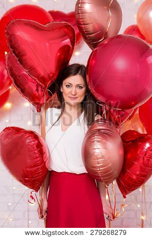 Valentine's Day Concept - Portrait Of Pretty Woman With Red Heart-shaped Balloons