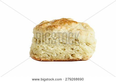 Buttermilk Southern Biscuit Or Scone Isolated Over A White Background With Light Shadow And Clipping