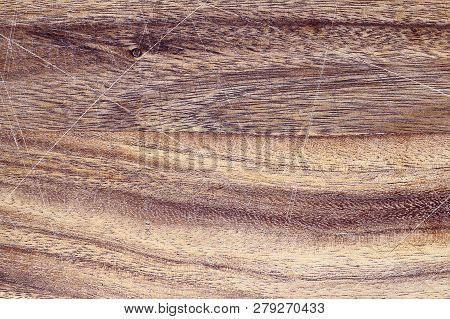 Vintage Wooden Cutting Board With Scratches. Image Shot From Above In Flat Lay Position.