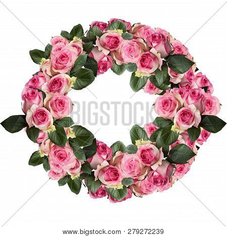 Beautiful Pink And White Rose Wreath With Leaves Arranged And Isolated Over A White Background. Imag
